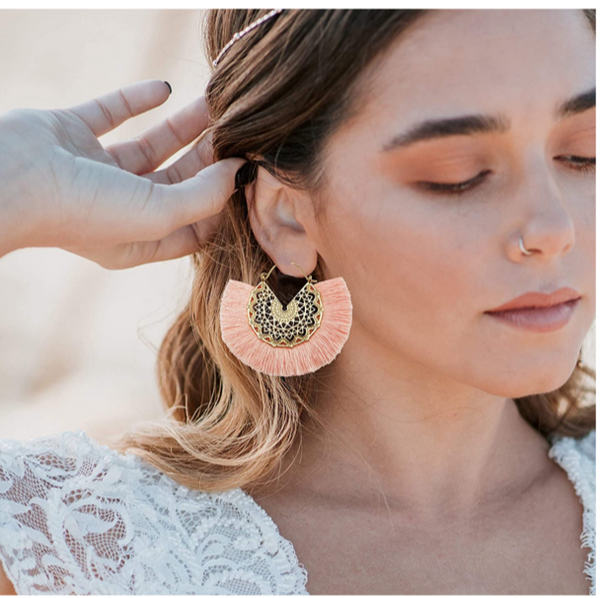 Boho Intricate Gold Fan Fringe Earrings