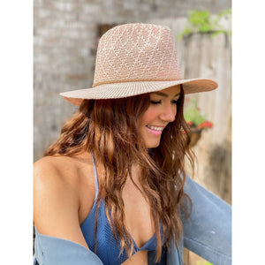 C.C Diamond Knit Panama Hat with Suede Braided Cord (Adult/One Size) Multiple Colors!