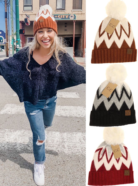 CC Chevron Beanie with Faux Fur Pom