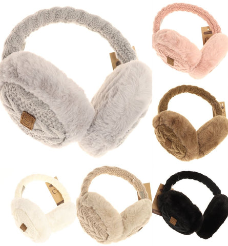 *PRE-ORDER* Cable Knit Faux Fur Earmuff