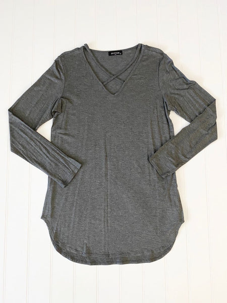 New Women's Boutique Solid Criss-Cross Long Top Sizes S-L