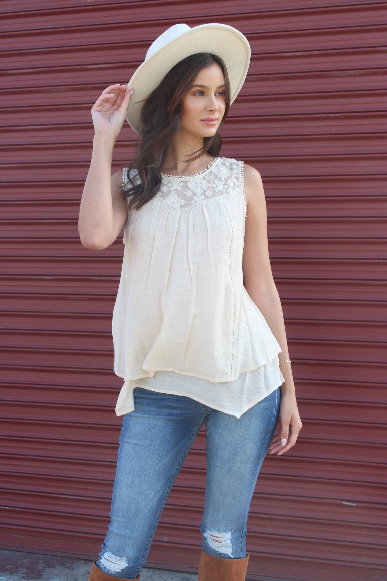 New Women's Boutique Style & Co. Sleeveless Top with Lace Detail
