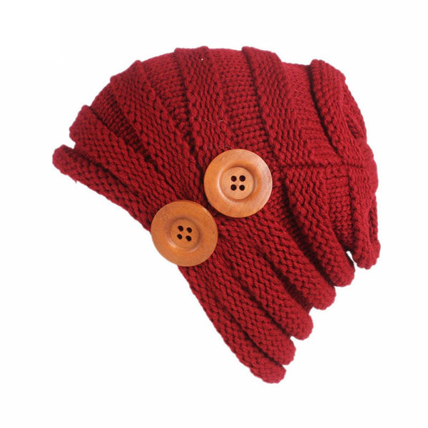 Double Button Slouch Ribbed Beanie (Adult/One Size)