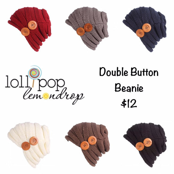 Double Button Slouch Ribbed Beanie *CLEARANCE*