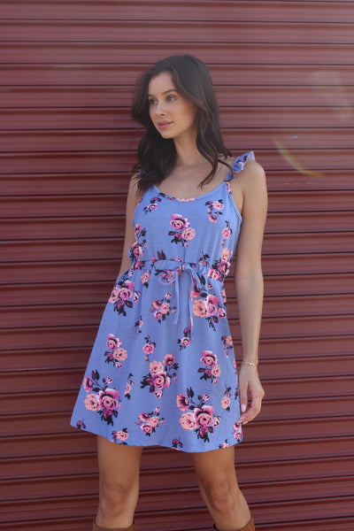 New Women's Boutique Strappy Mini Floral Dress with Cinched Waist S, M, L, XL