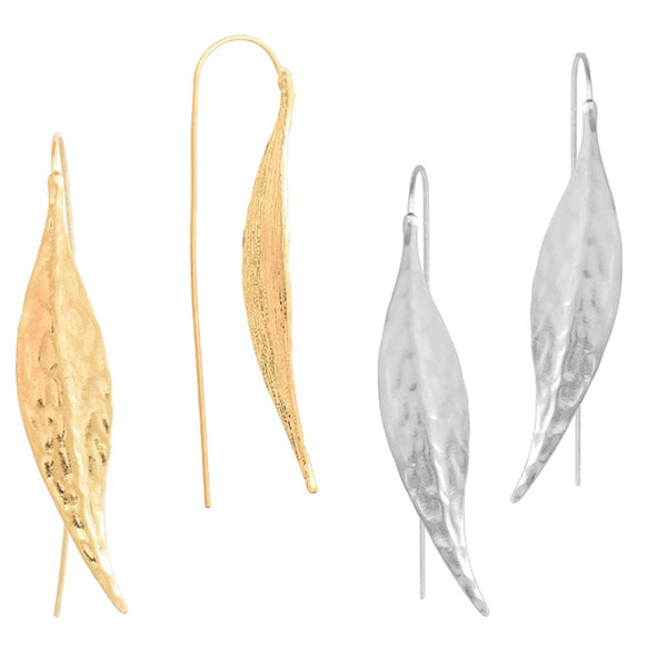 Long Leaf Earrings Gold and Silver