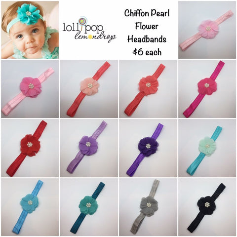 Chiffon And Pearl Flower Headbands