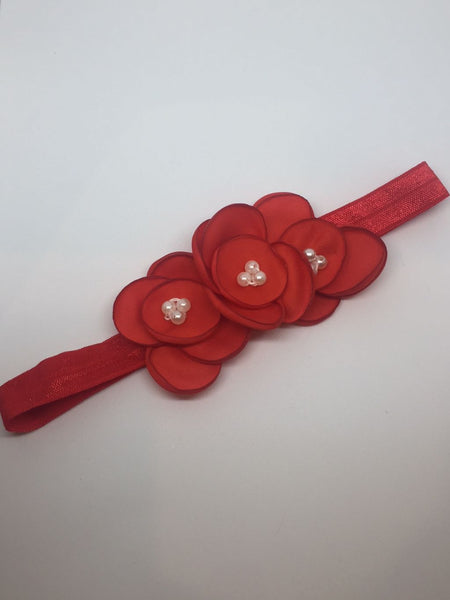 Triple Burnt Edge Silk And Pearl Flower Headbands