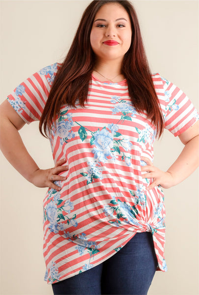 SALE Floral Knot Hem Blouse in PLUS sizes 1x, 2x & 3x