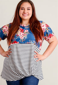SALE Blue Floral & Stripe, Knot Hem Blouse in PLUS sizes 1x, 2x & 3x