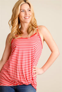 SALE New Women's Boutique Coral Striped Twisted Hem Tank Sizes S, M & L