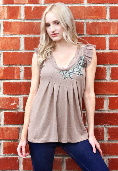 New Women's Boutique Sleeveless V Neck Top with Chiffon Trim S, M L