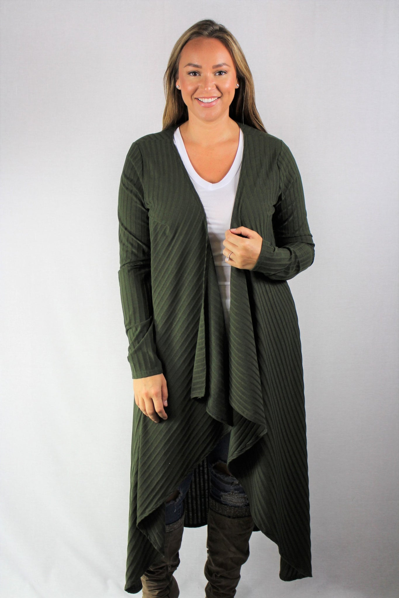 New Women's Boutique Olive Long Open Front Cardigan PLUS sizes 1x, 2x, 3x & 4x