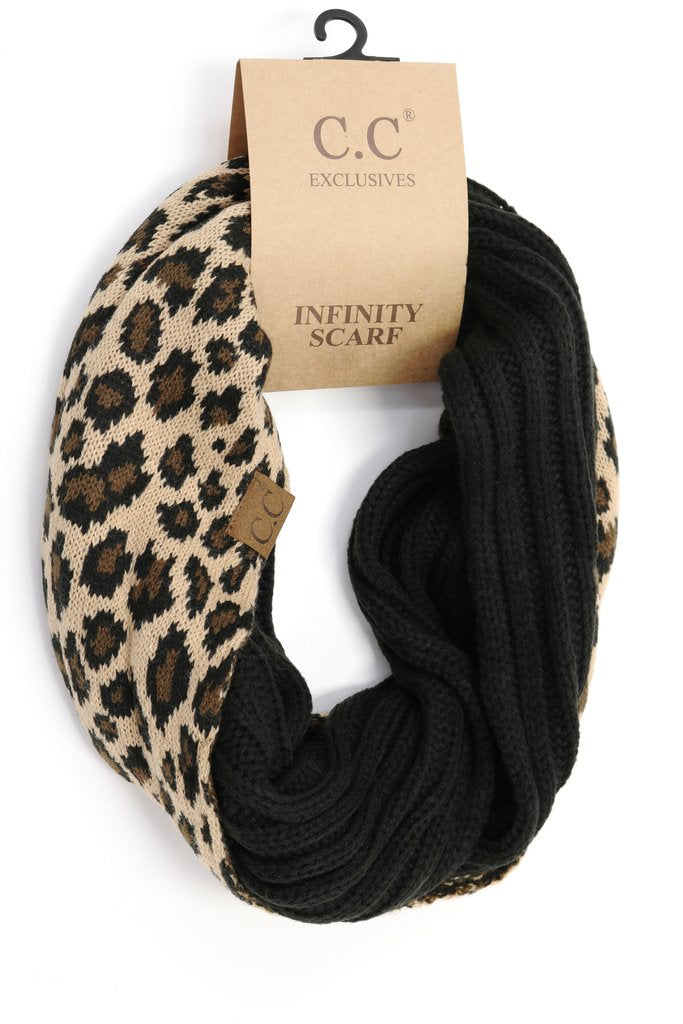 C.C. Ribbed Leopard Accent Infinity Scarf