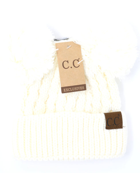 CC Double Pom Beanie Hats (Adult/One Size), Multiple Colors available