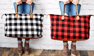 Buffalo Plaid Flannel Oversized Weekender Bags