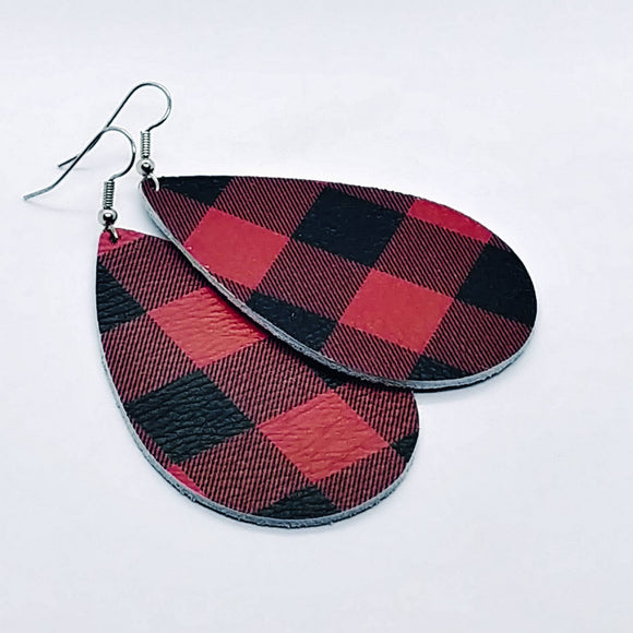 Buffalo Check Faux Leather Teardrop Earrings