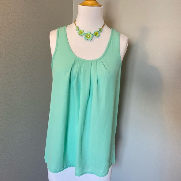 Pre-Loved Mint pleated dressy tank, size S