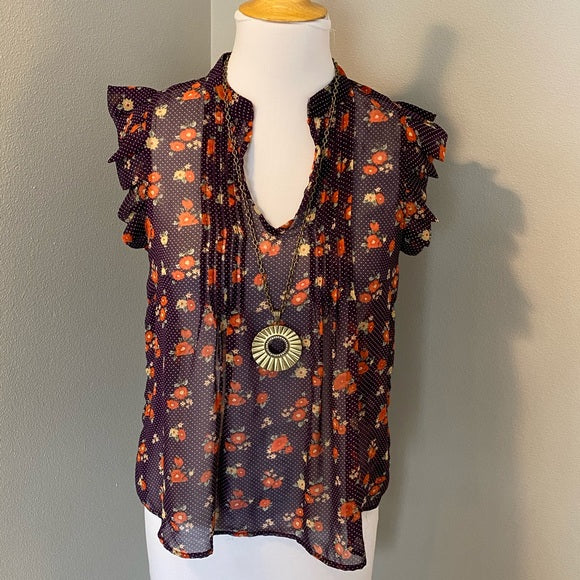 Pre-Loved Like New purple floral sheer tank, size S