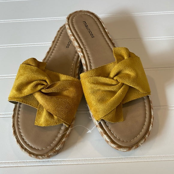 Pre-Loved Women's Shoes: New Maurices mustard suede like tie top slides, 9