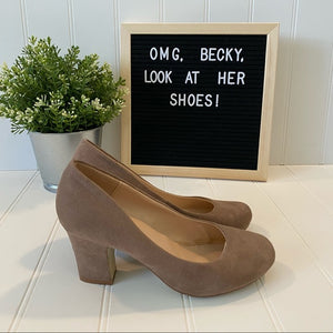 Pre-Loved Women's Shoes: Bonnibel faux suede beige heel pumps size 5.5