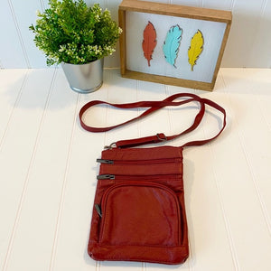 Pre-Loved NEW Red Leather Crossbody Purse