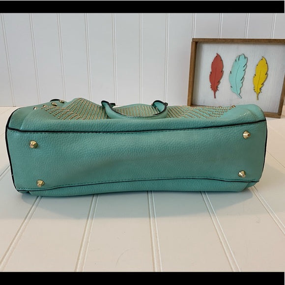 Pre-Loved Studded Fashion Handbag Purse In Mint/Aqua