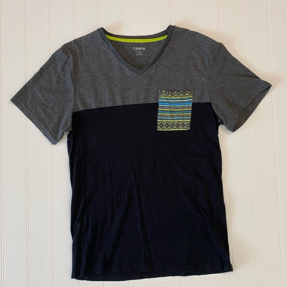 Pre-Loved Carbon V-Neck print pocket color-block tee size XL