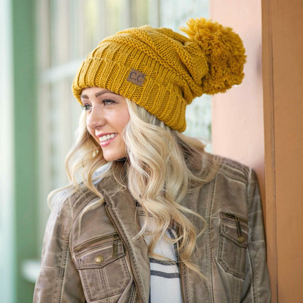 C.C. Super Slouch Pom Beanie (Adult/One Size) Several Colors