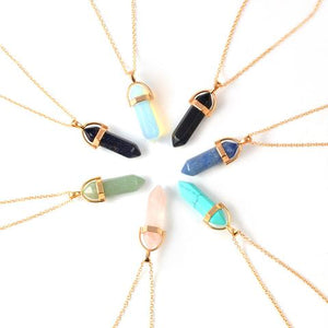 Hexagon Crystal Stone Boho Necklace. 5 Different Colors
