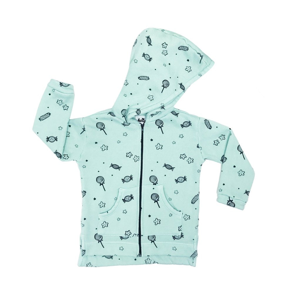 Kira Kids Mint Print Organic Cotton Hooded Sweatshirt