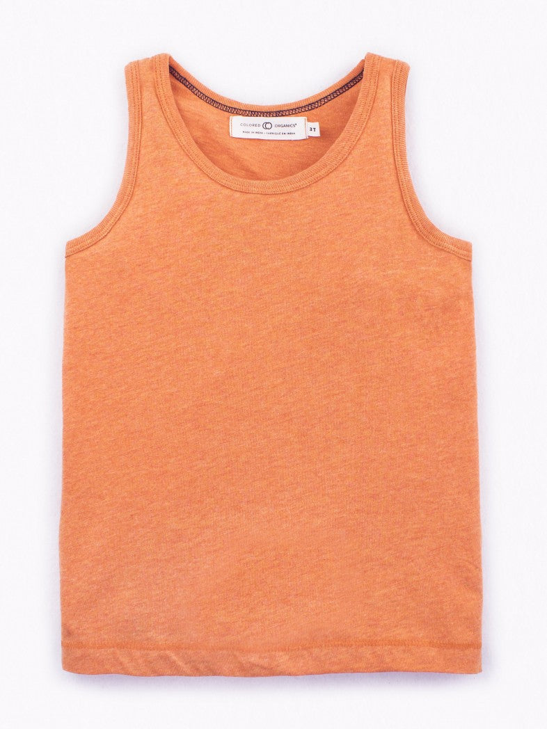 Orange Organic Cotton Tank Top by Colored Organics for Toddler Boys