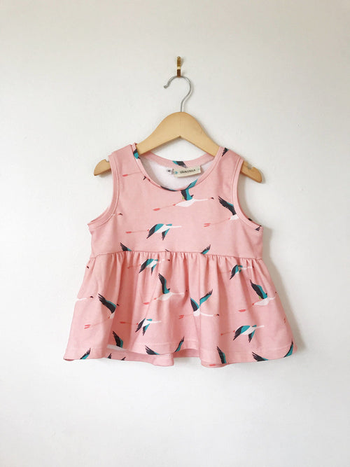 Lola and Stella Organic Cotton Baby Peplum Tank Top Flamingo Print