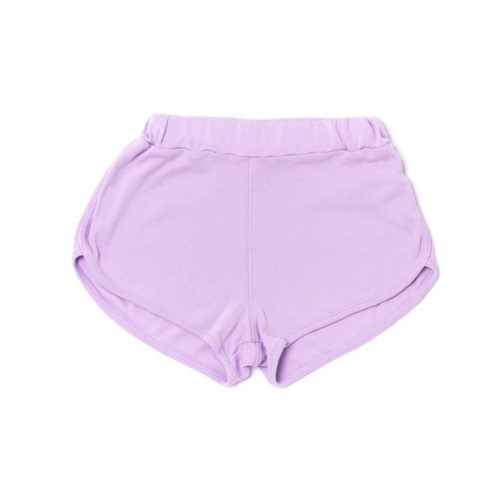 Kira Kids 100% organic violet track shorts for baby and toddler girls