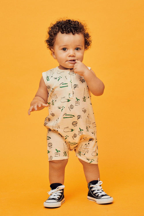 Lil Lemons Organic Cotton Garden Romper for baby