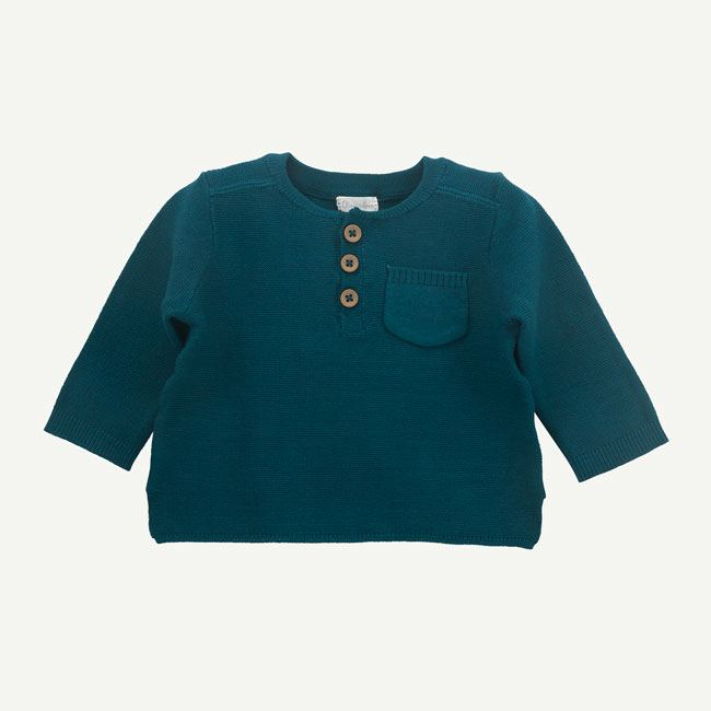 Dark Teal Henley Sweater