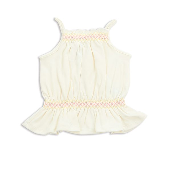 Silkberry Baby Organic Cotton smocked tank for baby girl