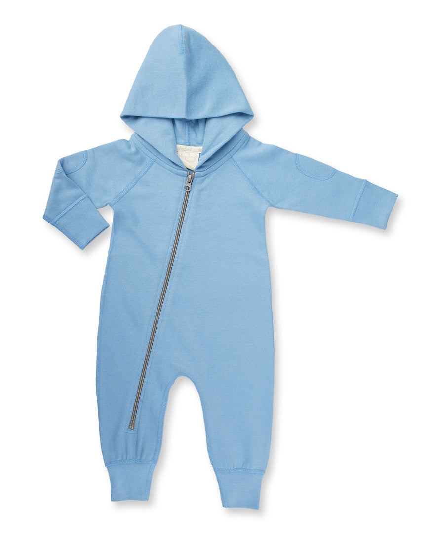 Sapling Organic Organic Cotton Hooded Zipsuit Blue