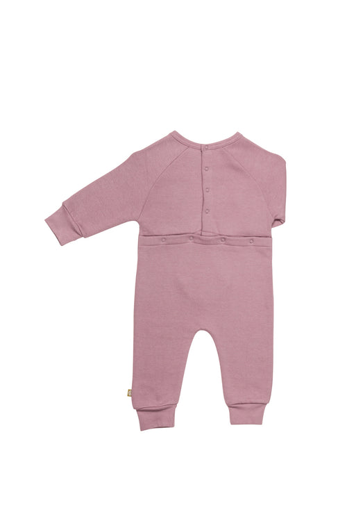 Nui Organics Organic Fleece Romper in Elderberry Back Detail