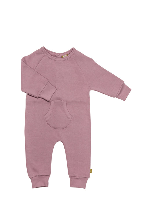Nui Organics Organic Fleece Romper in Elderberry