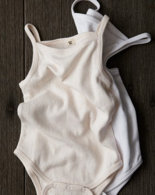 Goat Milk Organic cotton pointelle tank onesie for baby girl