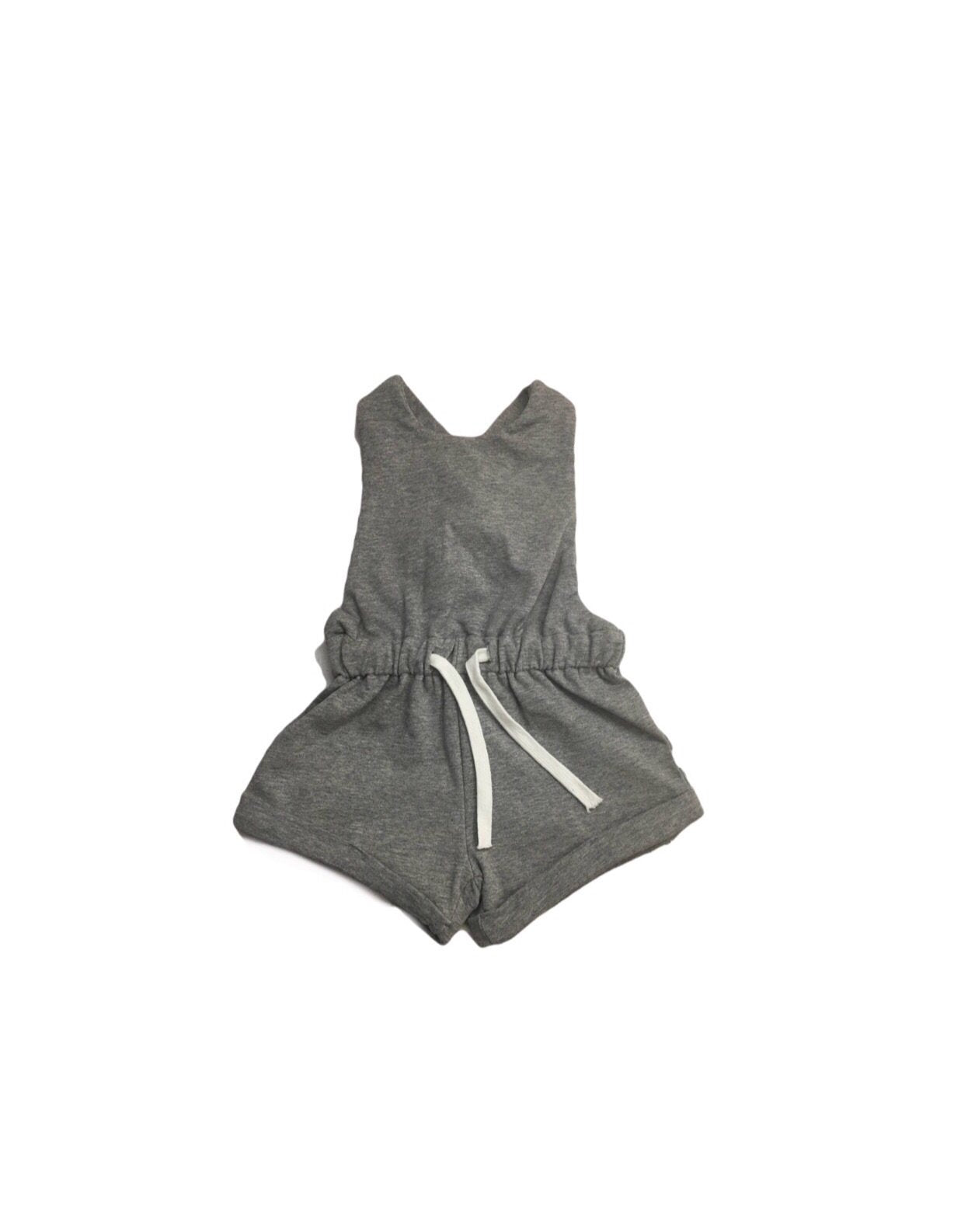 Halo & Horns cross back romper in gray for baby girls