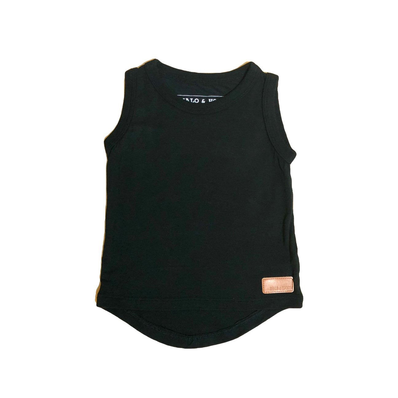 Halo & Horns bamboo black singlet tank top for baby and toddler