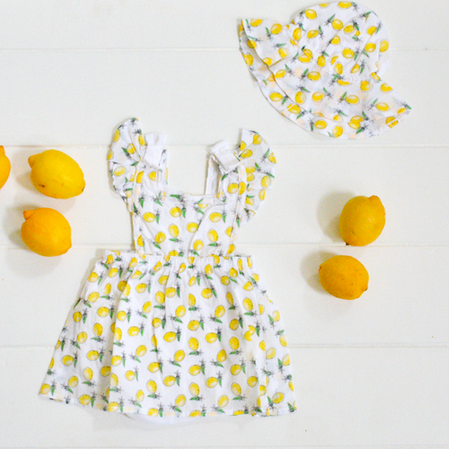 Lemon Print Sun Hat