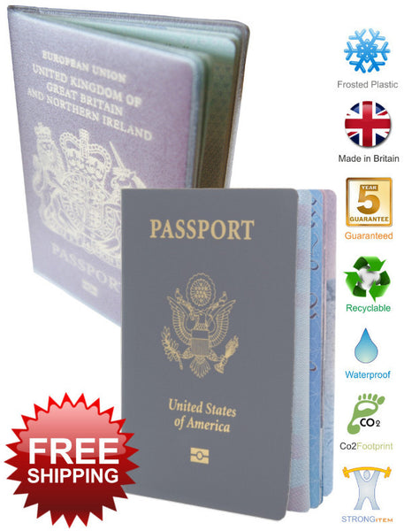 Passport Cover Holder Jacket Wallet Clear Plastic Vinyl Plain - Klayzer