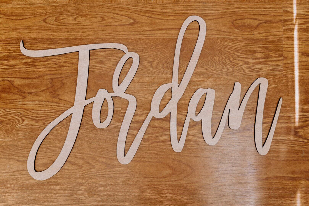 Cursive wooden name sign - various sizes available