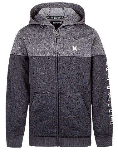 Hurley - DRI-FIT SOLAR FULL FRONT ZIP PULLOVER (BLACK/HEATHER GREY)- Youth Sizes S-XL