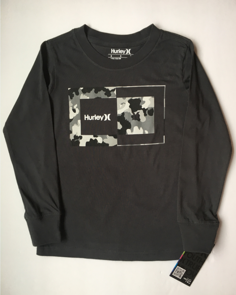 Hurley - CAMO LOGO LONG SLEEVE TEE (ANTHRACITE) Size 4-7