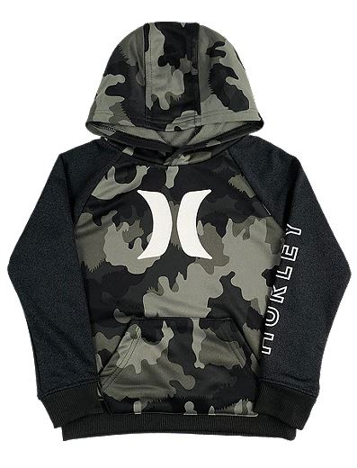 Hurley - DRI-FIT SOLAR ICON PULLOVER HOODIE (GREEN CAMO) Sizes 4 & 6
