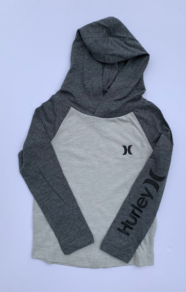 Hurley - LIGHTWEIGHT MARLED COTTON BLEND PULLOVER HOODIE (HEATHER GREY) - Sizes 4-7